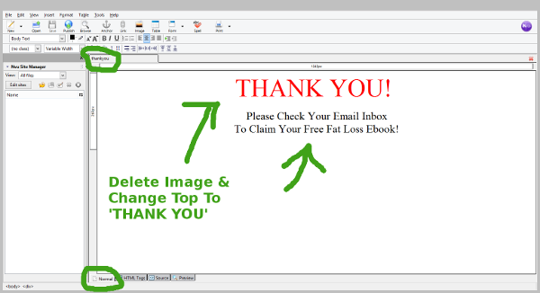 editing your thank you page with NVU